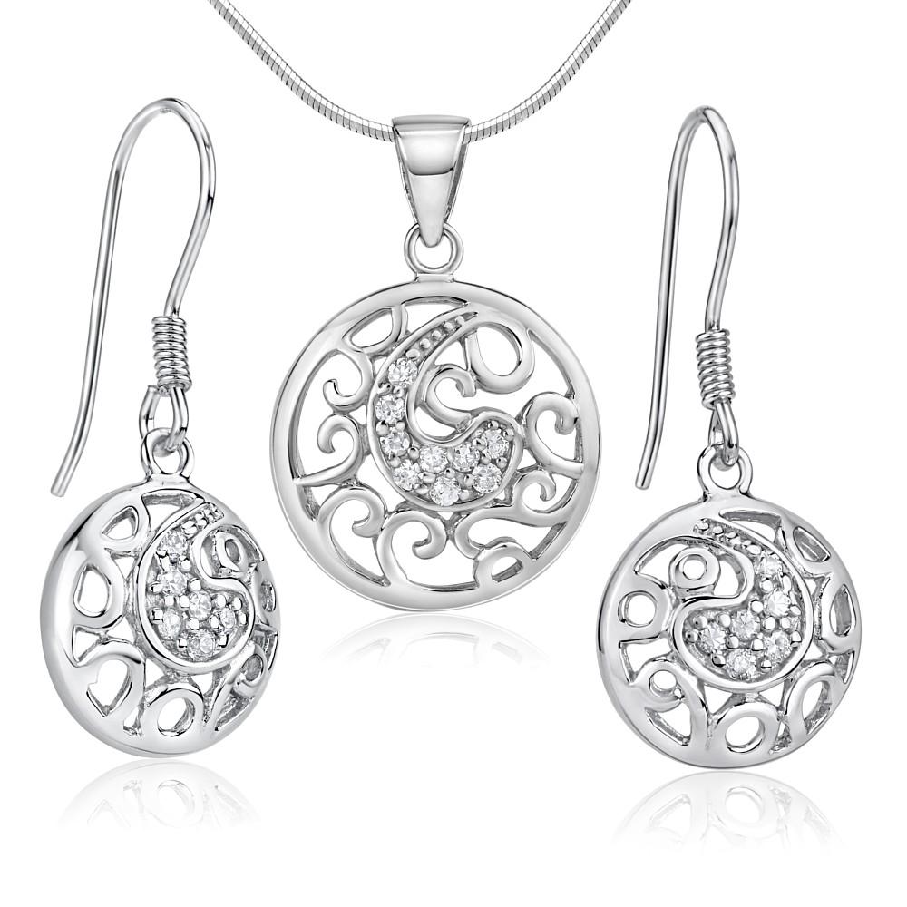 Moderní stříbrný set šperků se zirkony - náušnice a přívěsek - zvětšit  obrázek 2bc1f5784a5