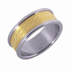 Ocelov� prsten s pozlacen�m - AKCE
